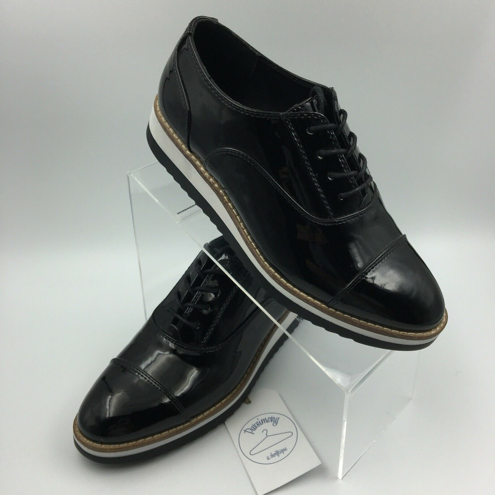 Sophie 17 Womens Shoes Size 9 Black Patent Leather Lace-Up Oxford Comfort