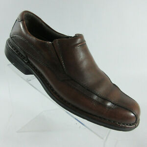 Clarks-Hagen-Brown-Leather-Slip-On-Bicycle-Toe-Loafers-Shoes-Men-039-s-Size-10-M