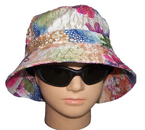 bf1a1989a208b Image is loading Floppy-Bucket-Hats-Flowers-amp-Glitter-Printed-BuckHat10