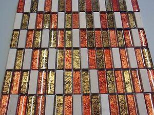 Glasmosaik Marmor Mosaik Fliesen Rot Braun Gold Mix Xxmm - Mosaik fliesen braun gold