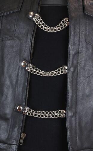 "Vest Extenders Double Steel Chain Motorcycle Biker Leather Jacket 4/""-4 Pcs Set"