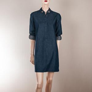 Details zu LOFT Ann Taylor Damen Kleid S 36 Blau Denim Tunika Blusenkleid Strass Jeans Styl