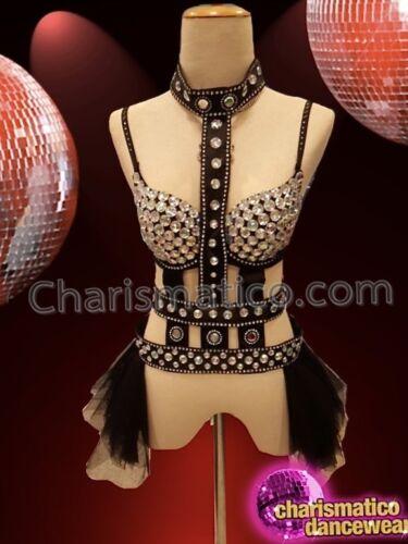 CHARISMATICO Black glamorous bold exquisite rich diva top