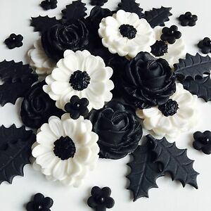 Black white rose christmas bouquet edible sugar paste flowers cake image is loading black amp white rose christmas bouquet edible sugar mightylinksfo