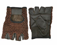 Leather Bus Driving Gloves Finger Less Gym Wheelchair Training Cycling Crochet