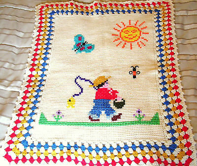 Retro Boy Baby Blanket Hand Knit with Crochet Border Cross Stitch Design Afgan