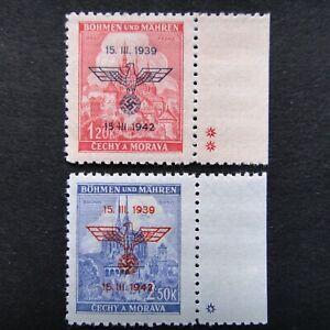 Germany-Nazi-1939-1942-Stamps-MNH-Overprint-Swastika-Eagle-Brno-Cathedral-at-Pra