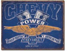 "Chevy Power Metal Tin Sign 16"" x 12.5"" Man Cave Garage Decor Wall Home New"