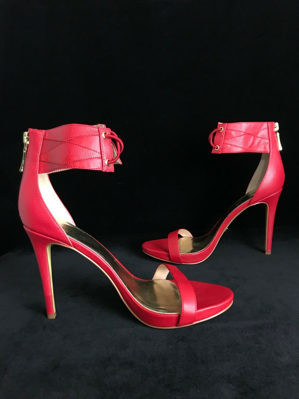 NEW Bebe red high heels sandals ankle straps stiletto heels Sz9 zip closure