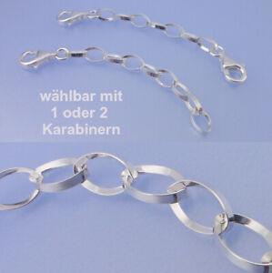 Echt-925-Silber-mit-1-oder-2-Karabiner-3-4-5-6-8-10-12-15-cm-Ketten-verlaengerung