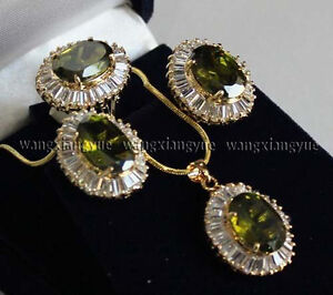 201914K-GP-Inlay-Peridot-Earrings-Ring-Necklace-Pendant-Fashion-Jewelry-Set-AAA