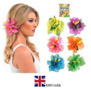 1-x-Hibiscus-Fleur-Pince-a-Cheveux-Hawaien-Hula-Fancy-Dress-Costume-Beach-Party-UK