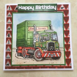 Details About Handmade Happy Birthday 3D Decoupage Truck Lorry Driver Card Humourous 6 X