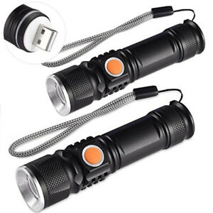 2x starke usb led taschenlampe polizei m2 tec swat wiederaufladbare 1200 lumen ebay. Black Bedroom Furniture Sets. Home Design Ideas