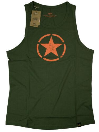 Alpha Industries Star Tank Tanktop Dark Green Orange 176540 257  6096