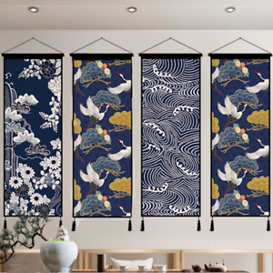 1PC-Print-Tapestry-Wall-Hanging-Banner-Flag-Adorn-Japanese-Ukiyoe-Wave-Crane-New