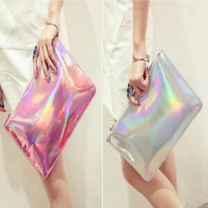 Holographic Laser Metallic Shine Handbag Messenger Bag Envelope Clutch EveningFT
