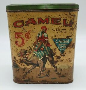 Vintage-Advertising-Camel-Cigar-5-cent-Tobacco-Canister-Tin-Camel-Brand-Cigar