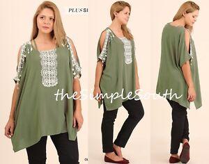 c0ee80e3e3b83 New UMGEE Olive Green Crochet Fringe Lace Open Shoulder Neck Boxy ...