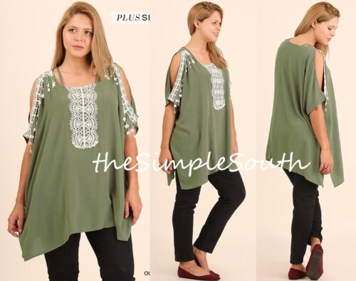 New UMGEE Olive Green Crochet Fringe Lace Open Shoulder Neck Boxy Tunic Top XL