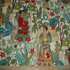 Cotton Fabric Alexander Henry Frida's Garden Kahlo Monkey Parrot on TEA  BTY