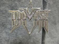 NOS DMX Hip Hop Rapper Bling Shiny Silver Tone Pendant Charm w/ Etched Accents