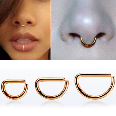 Gold Colored Silver Rose Gold Basic Steel Pincher Septum Ring