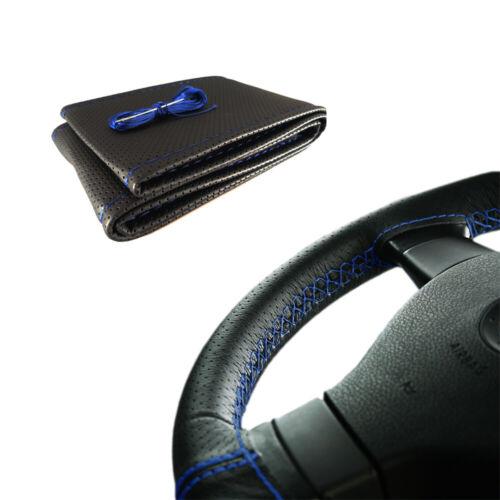 Coprivolante da Cucire in Pelle Nera Filo Blu Per Auto Volante 38-40cm  M44