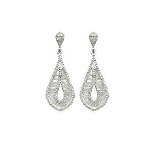 Solid 925 Sterling Silver Dangle Earrings Natural Nephrite White Jade 喜 Earrings