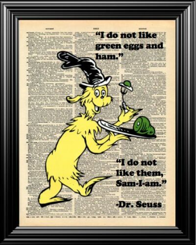 SEUSS/'S SAM-I-AM ALTERED ART UPCYCLED VINTAGE DICTIONARY ART PAGE WALL PRINT DR