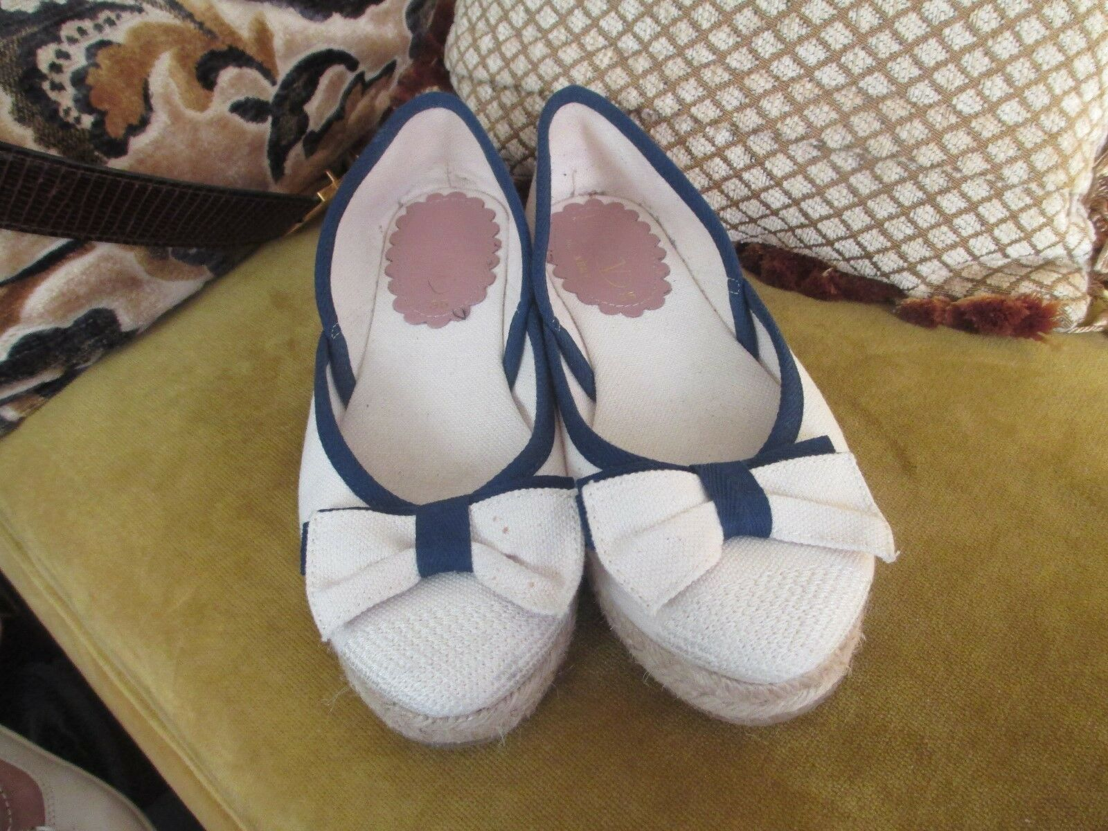 RED VALENTINO NATURAL NAVY CANVAS BOW FLATS SHOES SIZE 35