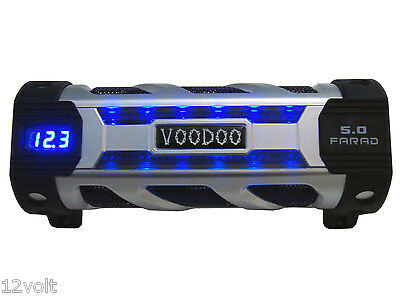 VOODOO Car Audio 5 FARAD Digital POWER Capacitor Blue Display