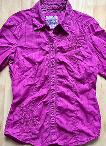 sexy-Bluse-ESPRIT-Gr-36-pink-mit-Stickereien-TOP-crinkle-Blogger