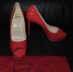041888b9e006 New CHRISTIAN LOUBOUTIN Patent Red Very Prive 40 9 US Stilettos Peep ...