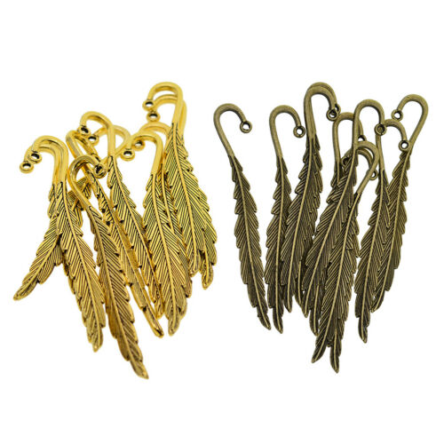 10Pcs Antique Alloy Feather Pendant Beading Bookmarks Hooks Jewelry Findings