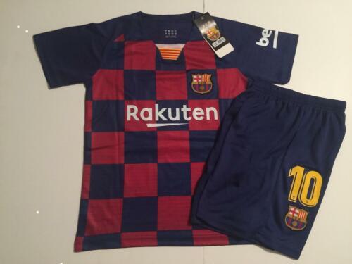 Barcelona Home 2019//20 Messi Kids Youth Soccer Jersey Shirt Set Kit Small 8-9 yr