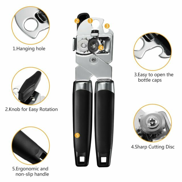 NON SLIP HEAVY DUTY STAINLESS STEEL TIN CAN OPENER EASY GRIP KITCHEN MAGNETIC