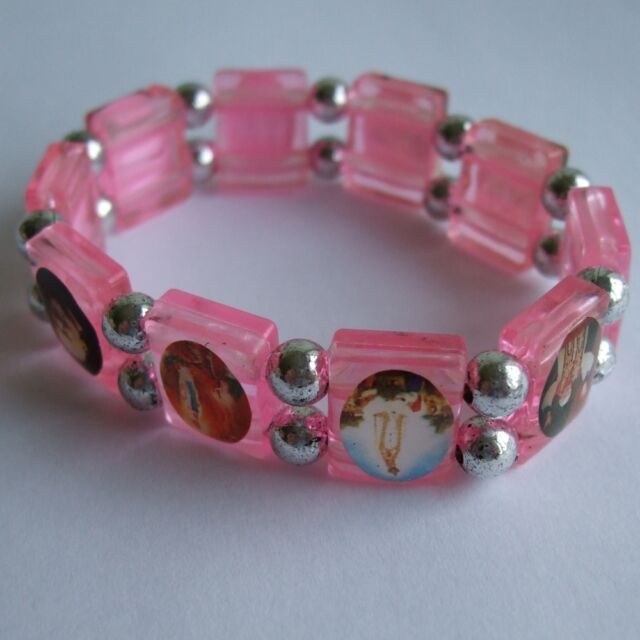 NEW GIRLS PINK ALL SAINTS BRACELET, CATHOLIC HOLY COMMUNION GIFT, RB28