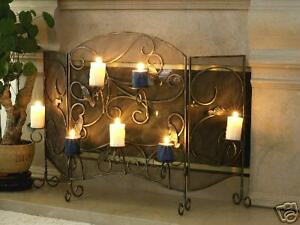 wrought iron fireplace screen with candle holder ebay rh ebay co uk Fireplace Screen Candle Holder Tall Candle Holders for Fireplace