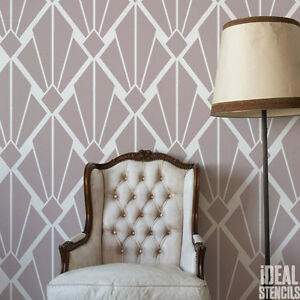 Art Deco Vintage STENCIL Geometric Retro Pattern Home Decor ...
