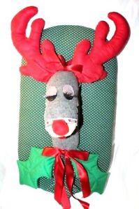 Christmas-Holiday-Handmade-Decorative-Reindeer-w-Bow-Plaque-Wall-Hanging-Decor