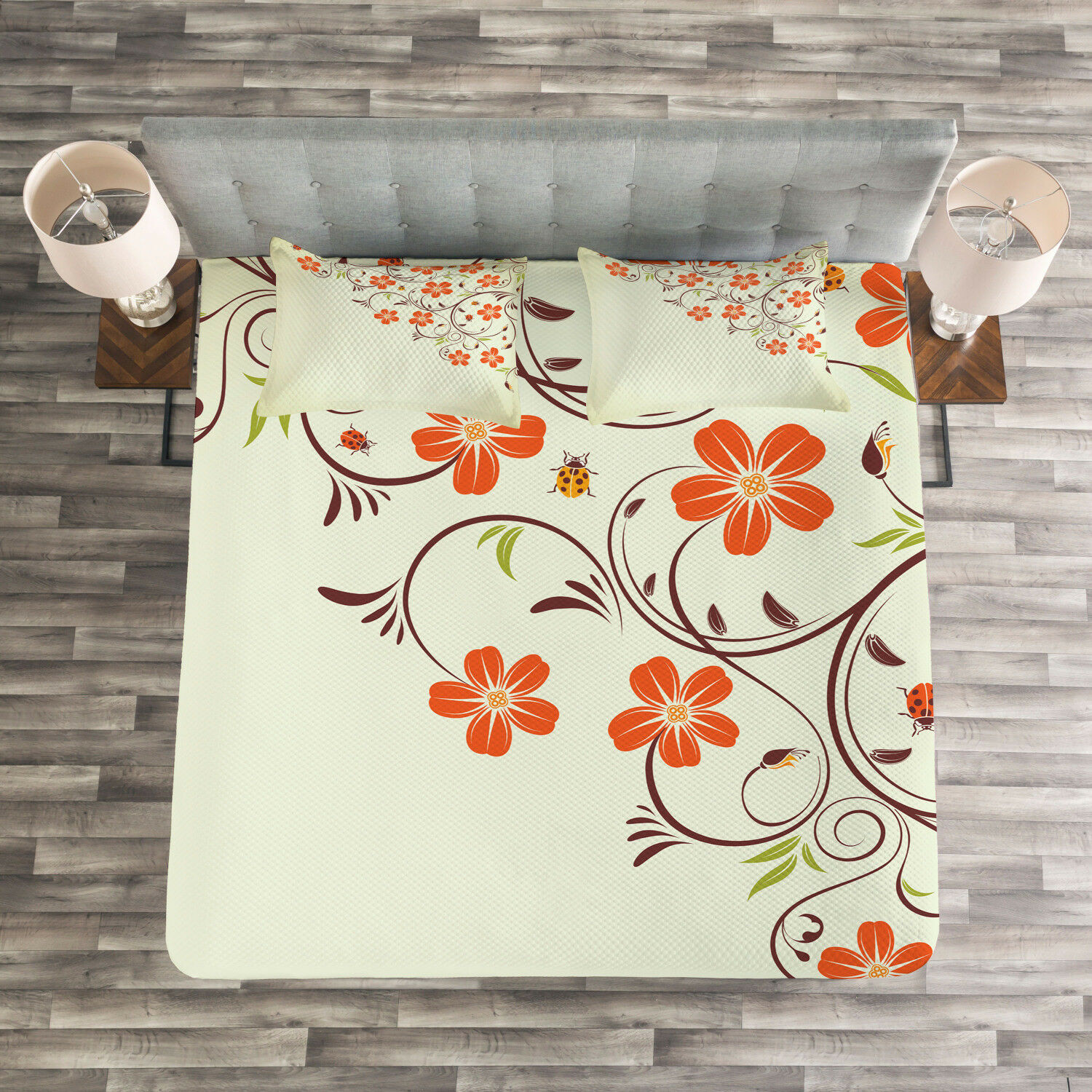 Floral Quilted Bedspread & Pillow Shams Set, Ladybugs Flowers Spring Print
