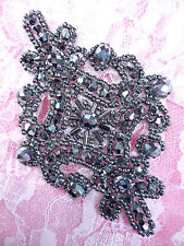XR332 Victorian Gunmetal Beaded Applique Sewing Patch Motif  DIY Hair bow 4""