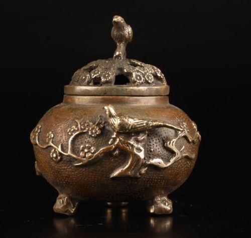 Vintage Collection Old Brass Casting Plum Flower Bird Lid Censer Incense Burner