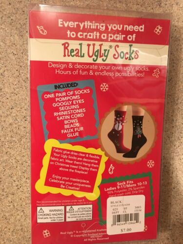 Real Ugly Socks Unisex Gingerbread Man Design Your Own Socks New In Box
