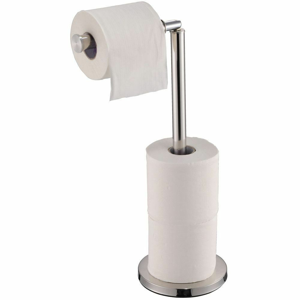 Toilet Paper Holder Free Standing Loo Roll Tissue Storage Stand By Home Discount