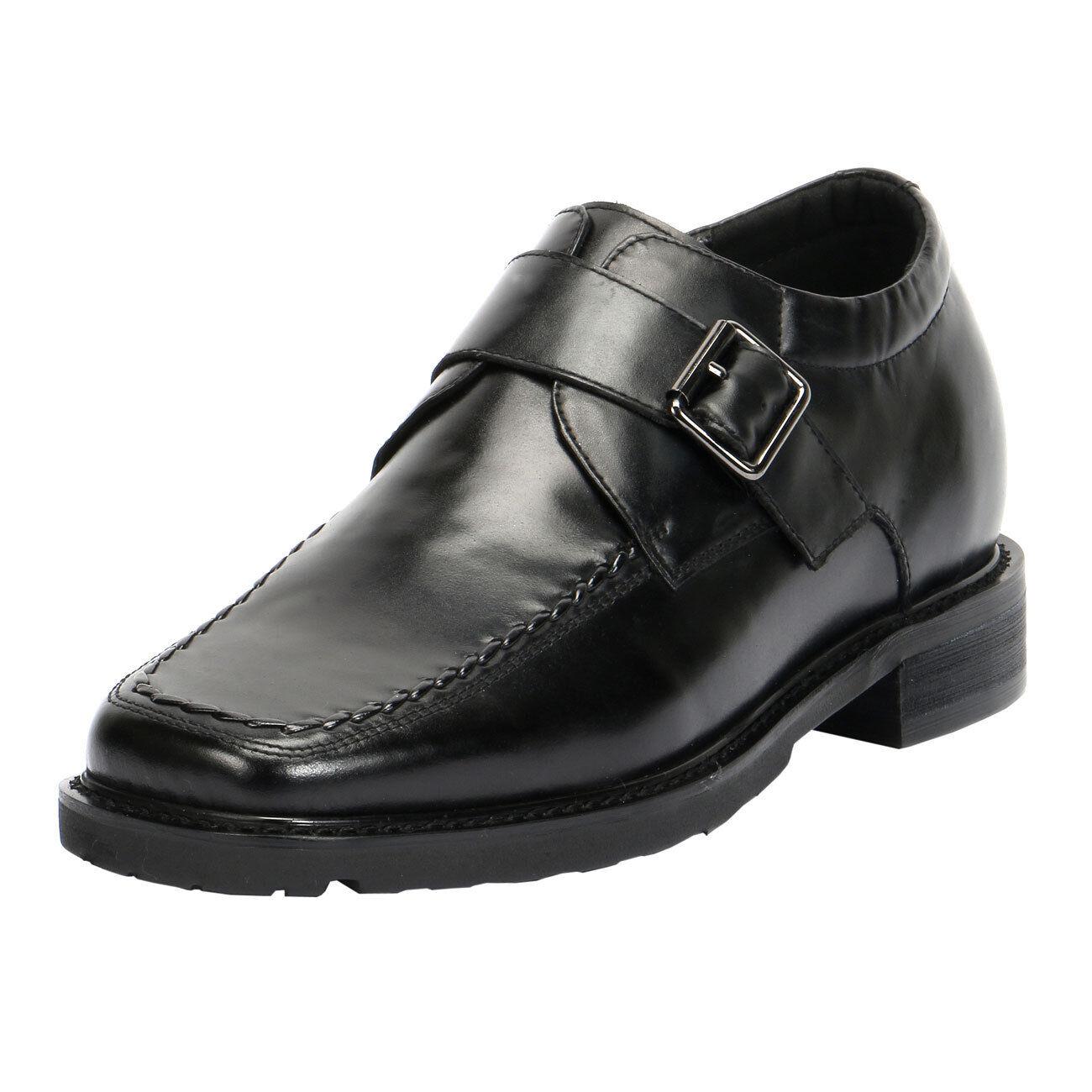 Comfort Men's Hidden High Heel Strap shoes 3  taller height JD023
