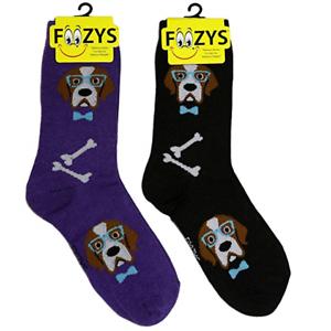 Professor Dog ~ 2 pairs Foozys Novelty Fun Crew Socks Foozy Womens