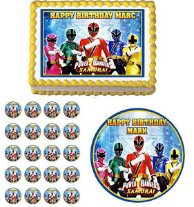 POWER RANGERS Edible Birthday Party Cake Topper Cupcake ...