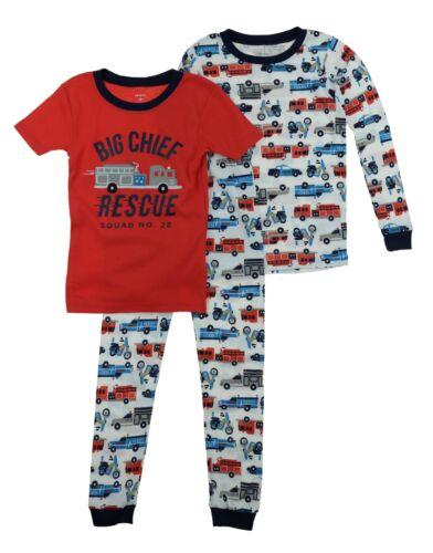 Carters Little Boys 3 Piece Jersey Cotton Pajama Sleepwear Set
